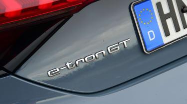 Audi e-tron GT saloon review rear badge