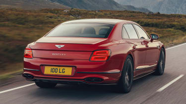Bentley Continental Flying Spur saloon rear 3/4 tracking