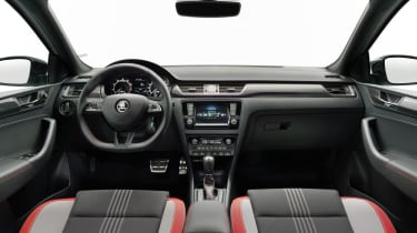 A new flat-bottomed sports steering wheel is also available. The infotainment system update brings real-time traffic updates