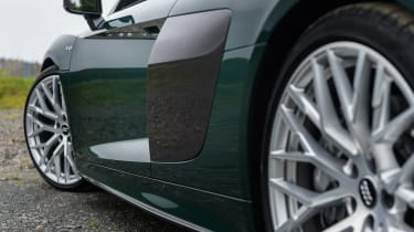 These 20-inch alloy wheels are optional on the Audi R8 Plus.