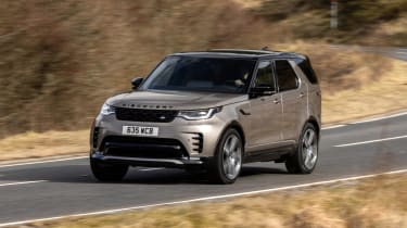 Land Rover Discovery SUV front 3/4 driving