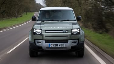 Land Rover Defender 110 - front on dynamic view