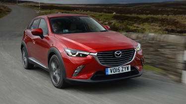 Mazda's sporty front end treatment gives the CX-3 an assertive look