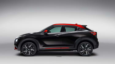 New Nissan Juke in black and red - side view