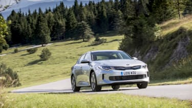 Thanks to its battery pack, the Optima PHEV can travel for just over 30 miles when fully charged