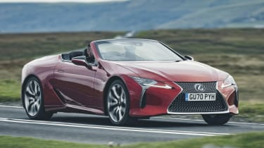 Lexus LC Convertible front 3/4 tracking