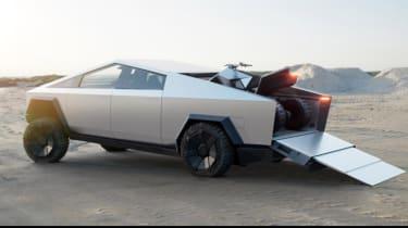 Tesla Cybertruck - rear 3/4 view with ATV loading
