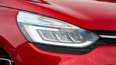 Large headlights with built-in daytime running lights help the Clio stand out and improve safety