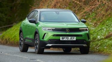 Vauxhall Mokka-e driving - front view