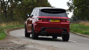 Range Rover Sport SUV driving - rear view