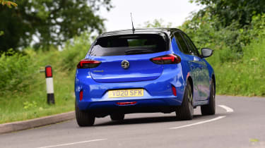 Vauxhall Corsa-e hatchback rear cornering