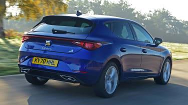 SEAT Leon e-Hybrid hatchback rear 3/4 tracking