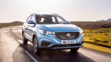 MG ZS EV SUV front 3/4 tracking