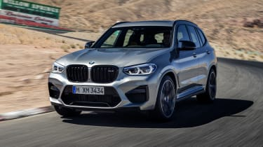 BMW X3 M Competition SUV front on track