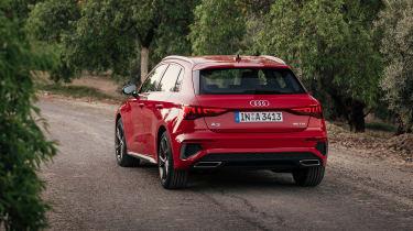 Audi A3 Sportback rear 3/4 country lane