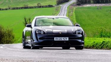 Porsche Taycan driving - front view