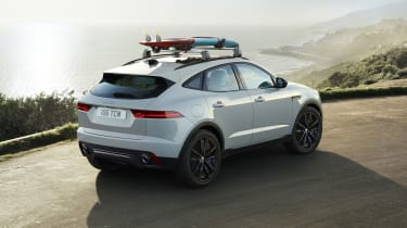 White Jaguar E-Pace Chequered Flag with roofrack