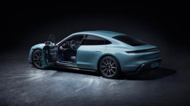 2020 Porsche Taycan 4S - Rear 3/4 static view with driver's door open