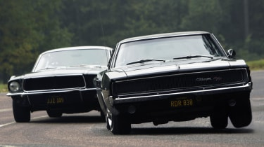 The Mustang and a Dodge Charger are embroiled in an iconic chase in the film.