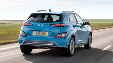 Hyundai Kona Electric SUV rear 3/4 tracking