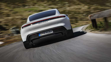 Porsche Taycan Turbo S - rear 3/4 dynamic