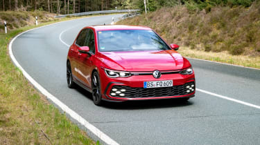 2020 Volkswagen Golf GTI  - front 3/4 view cornering