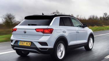 Volkswagen T-Roc SE driving - rear view