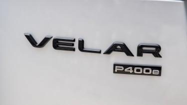2021 Range Rover Velar P400e plug-in hybrid badge