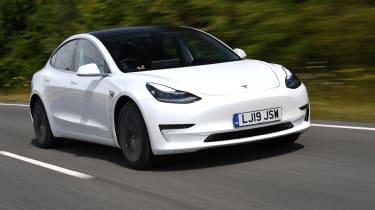 Tesla Model 3 - front 3/4 dynamic driving