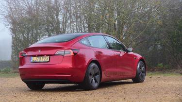 Tesla Model 3 saloon rear 3/4 static