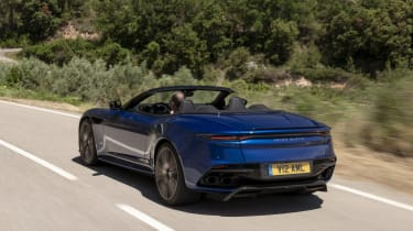 Aston Martin DBS Superleggera Volante rear 3/4 roof down