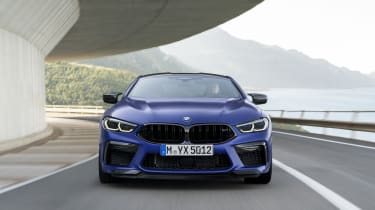 BMW M8 Competition coupe - front view driving