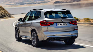 BMW X3 M Competition SUV rear 3/4 road
