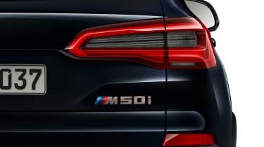 BMW X5 M50i rear badging close-up