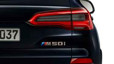 BMW X5 M50i rear badging close-up