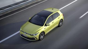 2020 Volkswagen Golf R-Line driving - top view