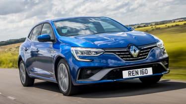 Renault Megane E-Tech hatchback front 3/4 tracking