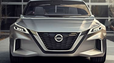 It also has the latest Nissan V-motion grille