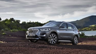 2019 BMW X1 SUV - front 3/4 wide angled off-road