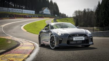 The GT-R's four-wheel drive system is capable of shifting power around to the wheels it detects have the most grip.