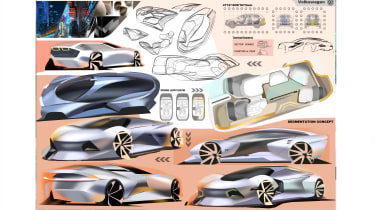 Zishen Peng – Zishen's design included a flexible cabin space with a dividing central display screen and lighting that gives proximity warnings to other vehicles.