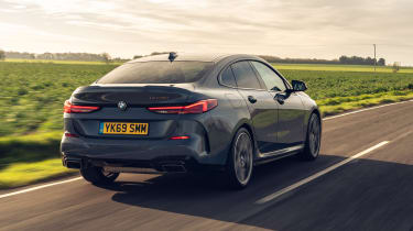 BMW M235i Gran Coupe saloon rear 3/4 tracking