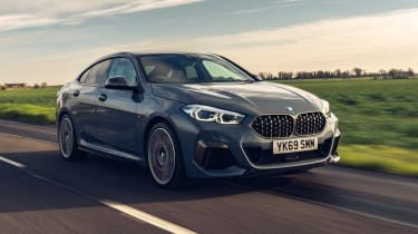 BMW M235i Gran Coupe saloon front 3/4 tracking