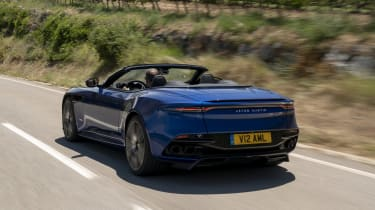 Aston Martin DBS Superleggera Volante rear 3/4 tracking