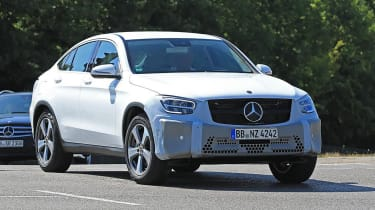 Mercedes GLC Coupe facelift tracking spy shot