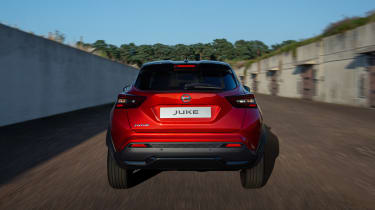 New Nissan Juke driving - rear end view