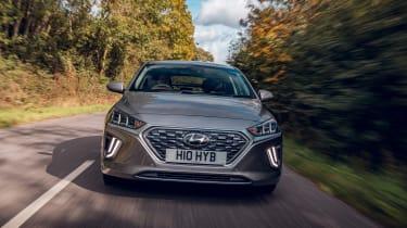 Hyundai Ioniq Hybrid review front driving