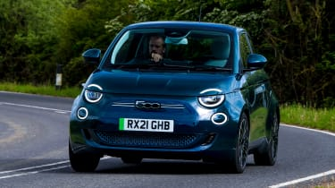 Fiat 500 electric front cornering