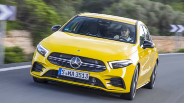 The Mercedes-AMG A 35 is a premium hot-hatch designed to take on the Volkswagen Golf R