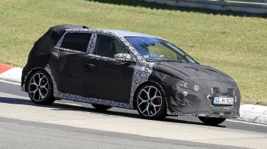Hyundai i20 N development car - Nurburgring - front 3/4 view